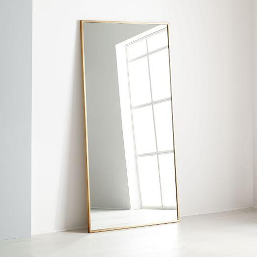 Metal Frame Oversized 78 Floor Mirror Antique Brass