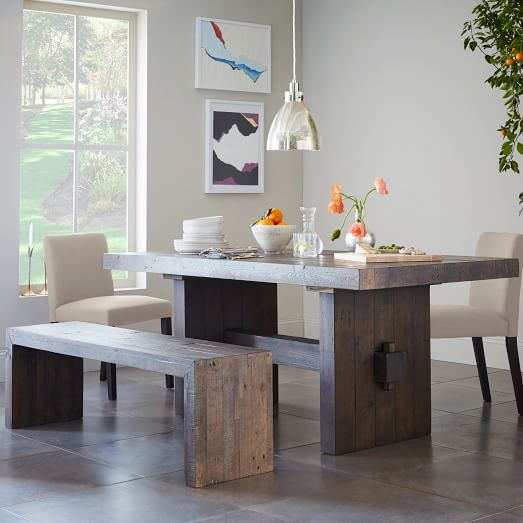 Emmerson Reclaimed Wood Dining Table Chestnut