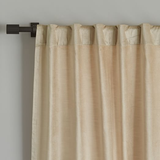 "West Elm Cotton Luster Velvet Curtain Unlined Individual Pewter 48/""x96/"" NEW"