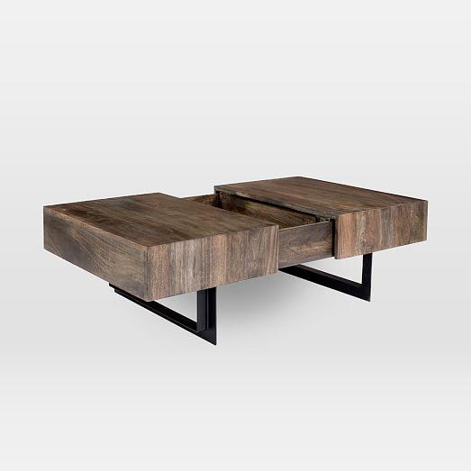 Modern Solid Wood Iron Storage Coffee Table