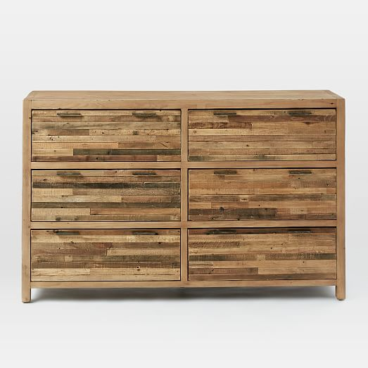 Bay Reclaimed Pine 6 Drawer Dresser Rustic Natural