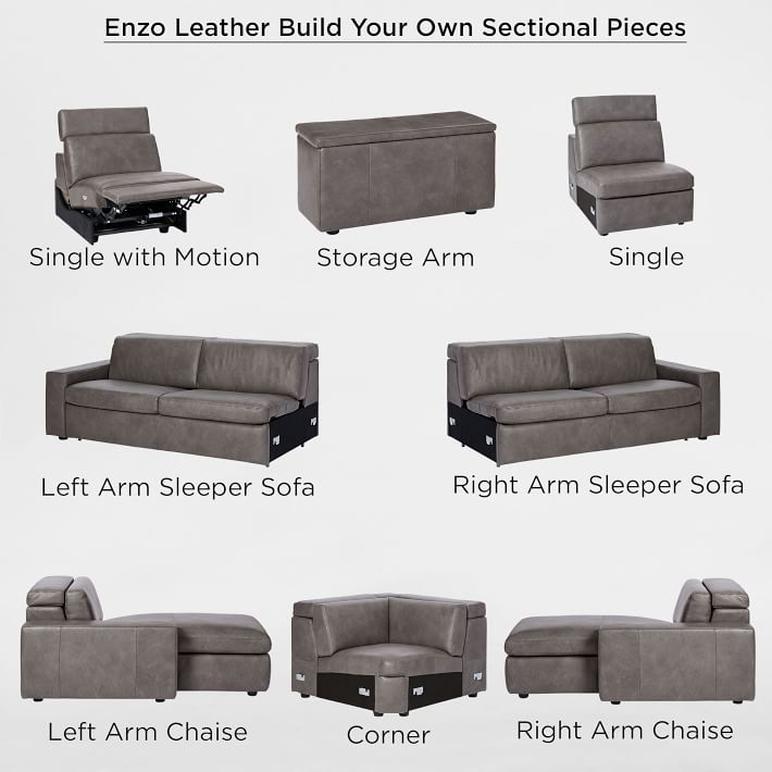 Build Your Own - Enzo Leather Sectional Pieces
