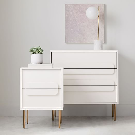 Gemini 3 Drawer Dresser White Lacquer