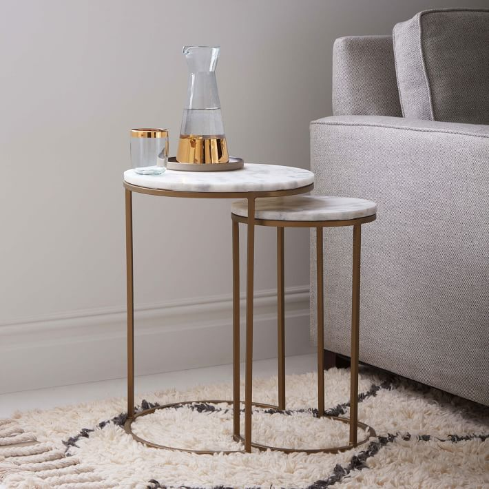 Round Black Glass End Table Sofa Side Table Set Of 2 Nesting Coffee Table With Gold Metal Body Black Glass Top For Living Bed Room Nesting Tables Furniture