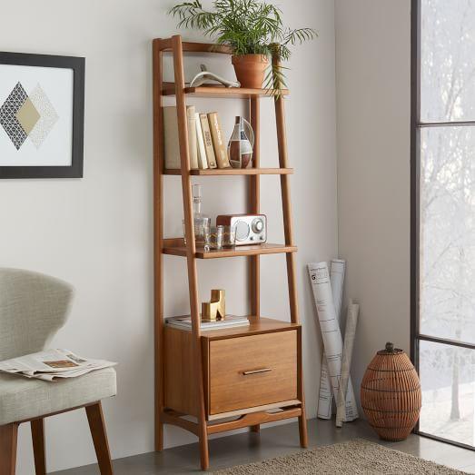 """Mid-Century 22"""" Bookshelf w/ Drawer - Acorn"""