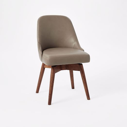 Mid Century Leather Swivel Office Chair