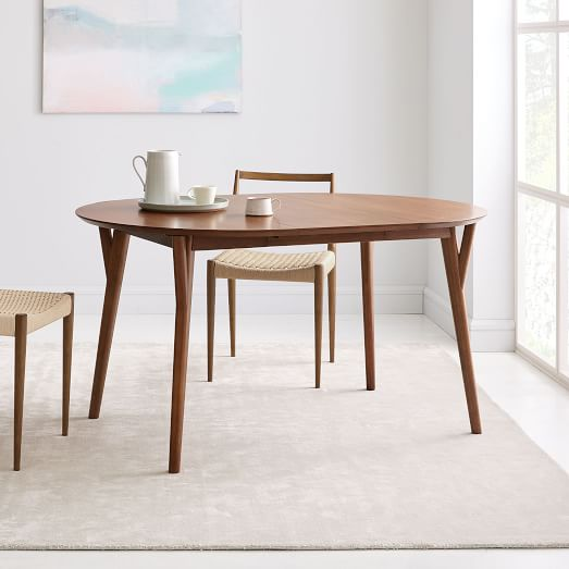 Mid Century Rounded Expandable Dining Table