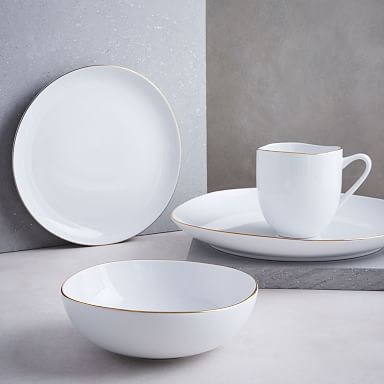 Organic Shaped Porcelain Dinnerware Set - Metallic Rimmed
