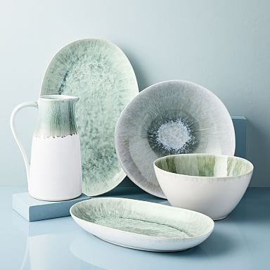 Reactive Glaze Stoneware Serveware - Dusty Mint