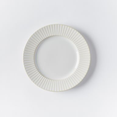 Textured Salad Plates - White (Lines)
