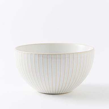 Textured Bowls (Set of 4) - White (Lines)