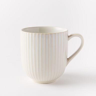 Textured Mugs (Set of 4) - White (Lines)