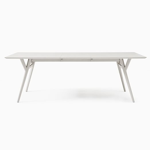 Extra Deep Mid Century Expandable Dining Table Pebble