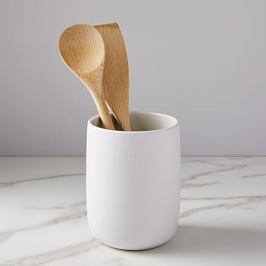 Kaloh Stoneware Utensil Holder, White