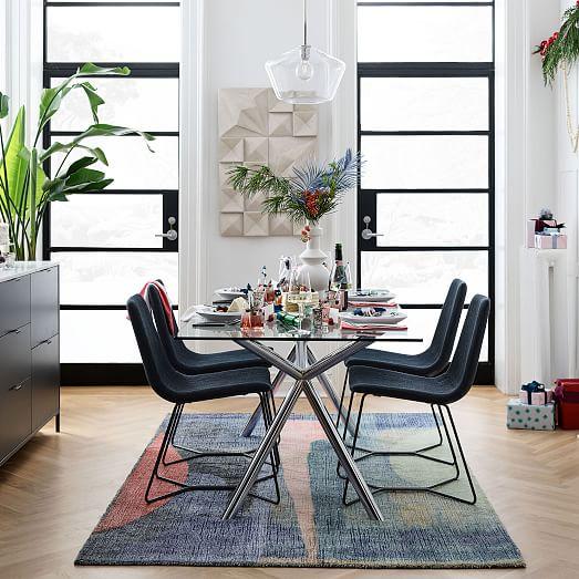 Chrome Trestle Dining Table