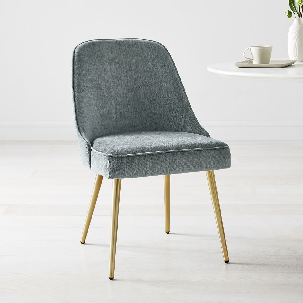 Mid Century Upholstered Dining Chair Metal Legs