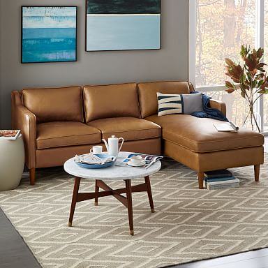 Hamilton Leather 2-Piece Chaise Sectional
