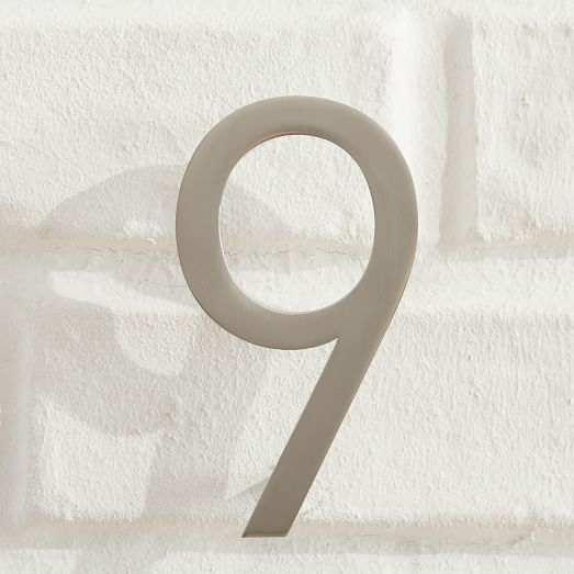 Modernist House Numbers Brushed Nickel