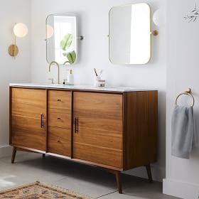 Mid Century Double Bathroom Vanity 63 Acorn