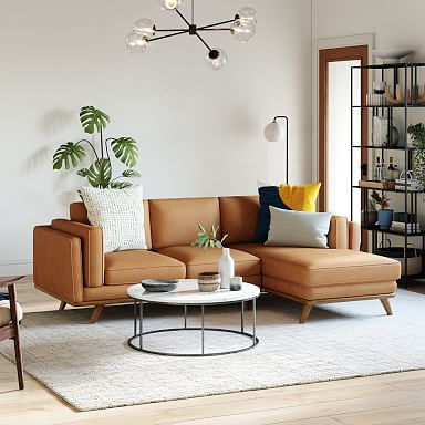 Zander Leather 2-Piece Chaise Sectional