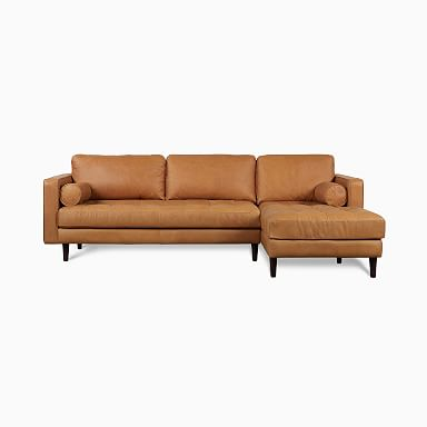 Dennes Leather 2-Piece Chaise Sectional