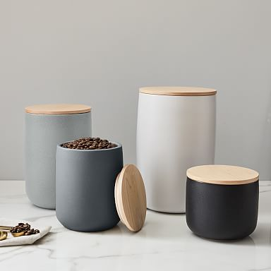 Kaloh Stoneware Kitchen Canisters w/ Wood Tops