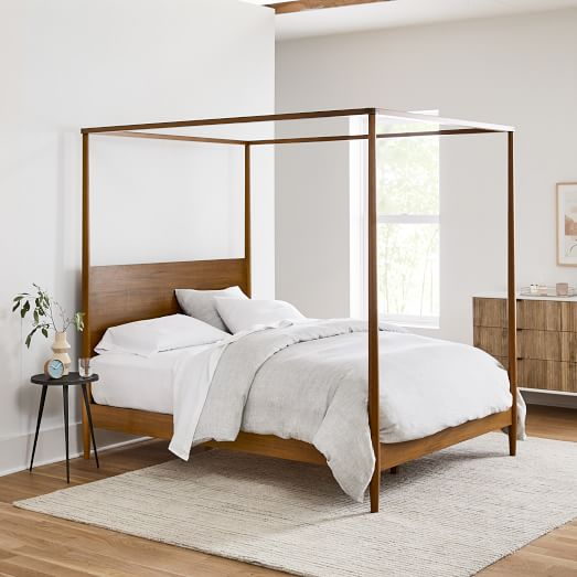 Mid Century Canopy Bed, Modern Canopy Queen Metal Bed Instructions