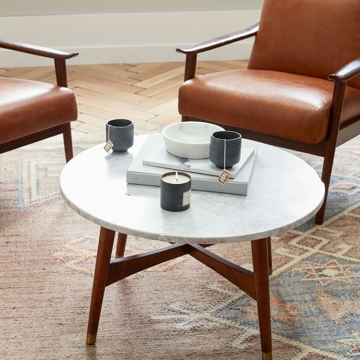 Reeve Mid Century Round Coffee Table 2 Side Tables Set