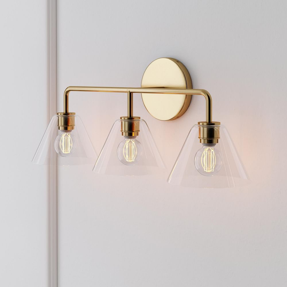 Sculptural 3 Light Cone Sconce Clear