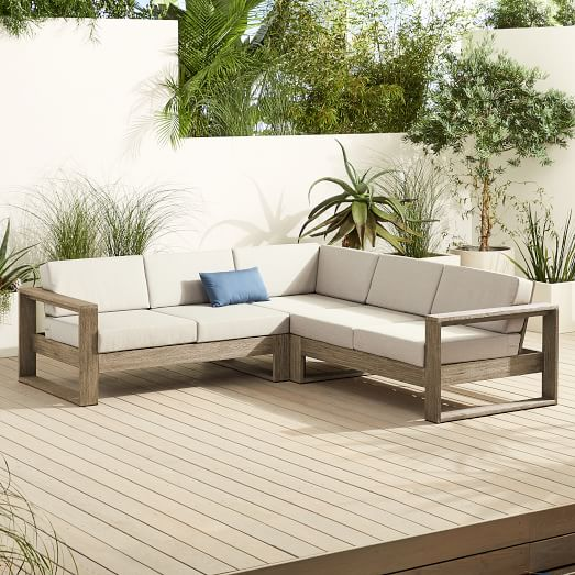 Portside Outdoor 3 Piece L Shaped Sectional, West Elm Outdoor Furniture