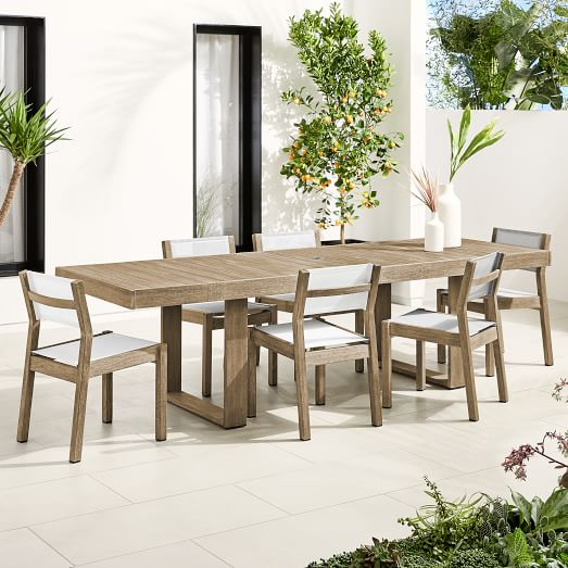 Portside Outdoor Expandable Dining Table Textilene Chairs Set