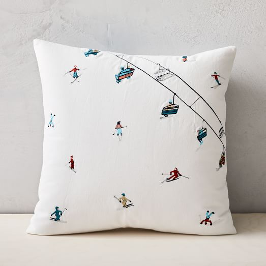 Embroidered Ski Slope Pillow Cover