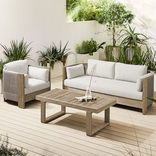 Porto Outdoor Sofa Lounge Chair, Patio Sofa Table