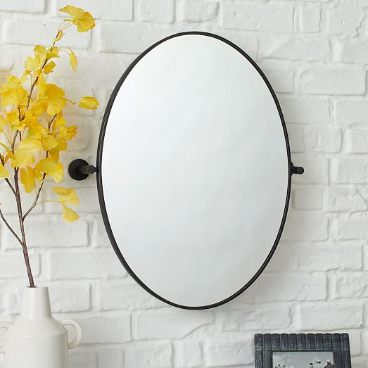 Metal Frame Pivot Wall Mirror Oval