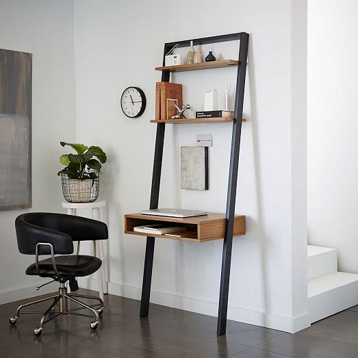 Ladder Shelf Desk, Narrow Desk With Shelves