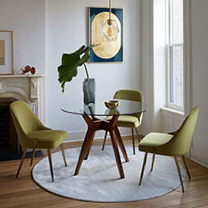 Jensen Round Dining Table, Round Glass Dining Room Table