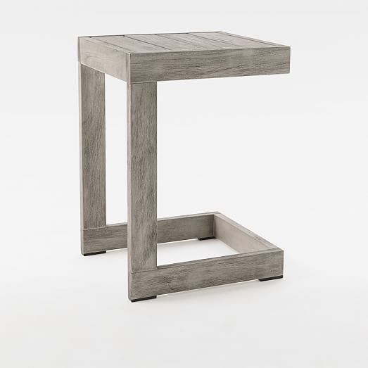 Portside Outdoor C Shaped Side Table, Outdoor End Tables