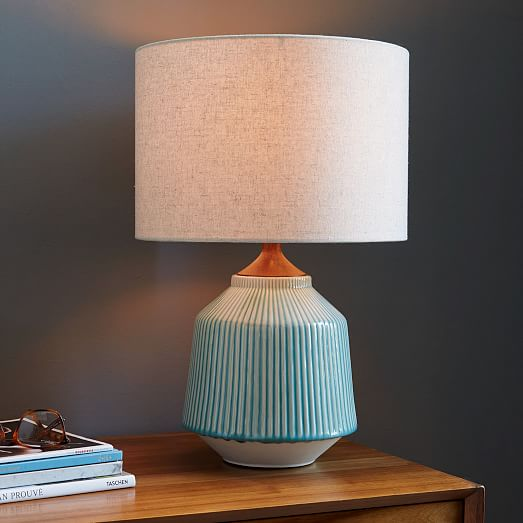 Roar Rabbit Ripple Ceramic Table Lamp, Turquoise Ceramic Lamp