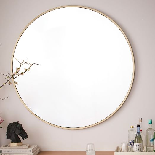 Metal Frame Oversized 48 Round Mirror, What Size Round Mirror For A 48 Vanity