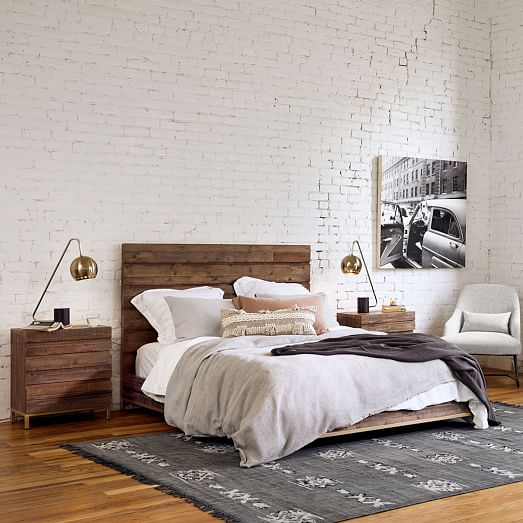 Reclaimed Wood Iron Base Bed, Wood Iron Bedroom Furniture