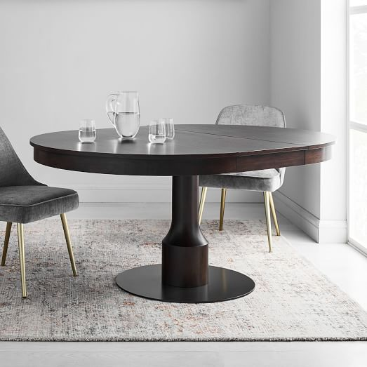 Turned Pedestal Expandable Dining Table, Round Pedestal Extending Dining Table