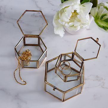 LARGE GOLD SQUARE BOX NEST SET JEWELLERY STORAGE SET OF 3 NESTED BOX