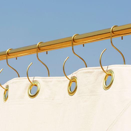 Quiet Town Shower Curtain Rings Brass