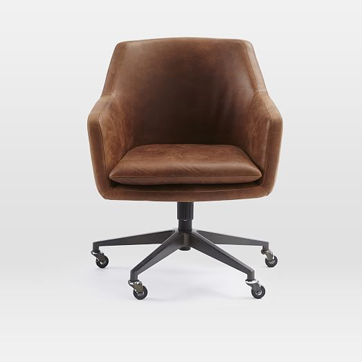 Helvetica Leather Office Chair, Brown Leather Office Chair