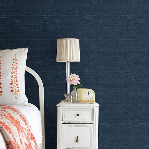 Navy Natural Sisal Grasscloth Wallpaper, Navy Grasscloth Wallpaper Dining Room