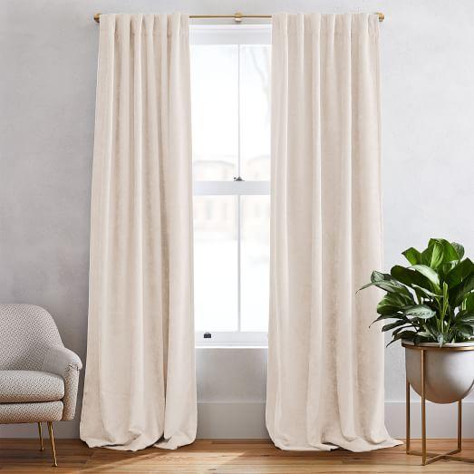 Worn Velvet Curtain Alabaster, How To Clean Lined Velvet Curtains