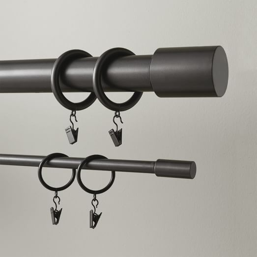 Gunmetal Open Box Set of 7 West Elm Oversized Metal Curtain Ring With Clip