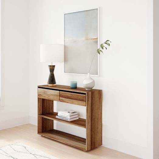 Anton Solid Wood Storage Console 42 - Solid Oak Console Table With Storage