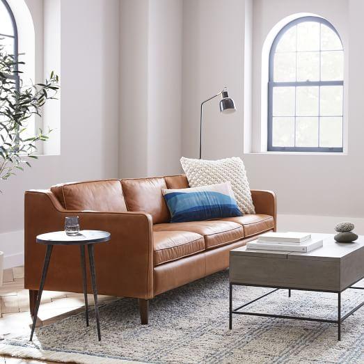 Hamilton Leather Sofa, Dark Red Color Leather Sofa