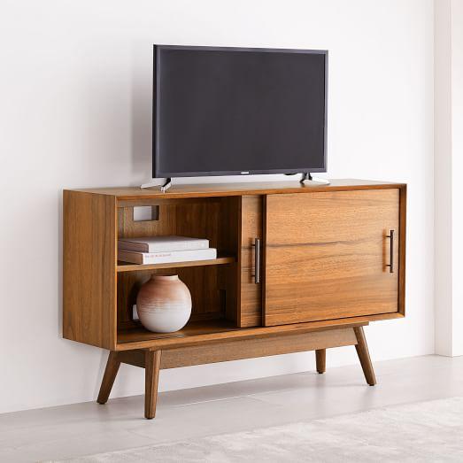 Mid Century Narrow Media Console 48, Tv Stand Media Storage Cabinet
